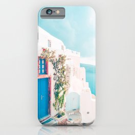 Santorini Greece Blue Door Cozy Photography iPhone Case