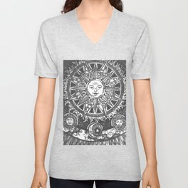 B&W Moon & Sun Unisex V-Neck