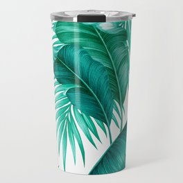 HAWAIIAN GARDEN TROPICAL LEAVES | turquoise white Travel Mug