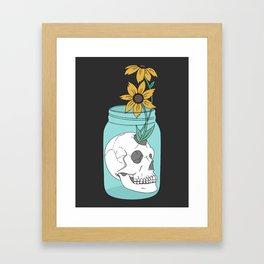 Skull in Jar with Flowers Framed Art Print