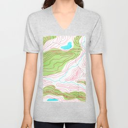 Let's go hiking - topographical map Unisex V-Neck