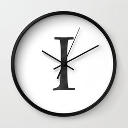 Letter I Initial Monogram Black and White Wall Clock