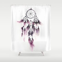 Dreamcatcher With Purple Feathers Shower Curtain
