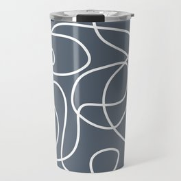 Doodle Line Art | White Lines on Dark Blue-Gray Background Travel Mug