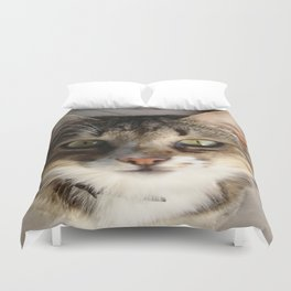 Tabby Cat Kitten Giving Eye Contact Duvet Cover