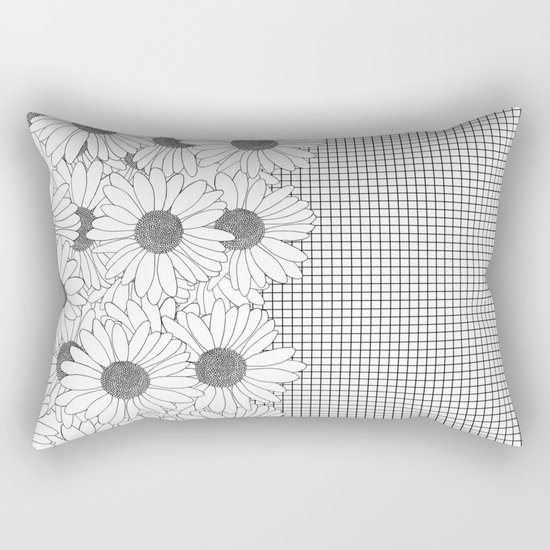 Daisy Grid on Side Rectangular Pillow