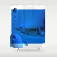 shark Shower Curtains featuring Shark by Laake-Photos