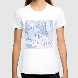 Elegant Tropical Blue Banana Leaves Design T-shirt