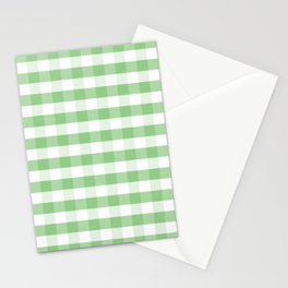 Color of the Year Large Greenery and White Gingham Check Plaid Stationery Cards