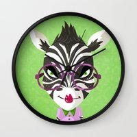 sassy Wall Clocks featuring Sassy Zebra by Marcia Mailoa