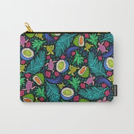 Tropical Neon: Mangos, Papayas and Turtles Carry-All Pouch