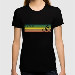 Retro Cycling Strip Mens Ringer Retro Cyclist Birthday Bicycle T-shirt