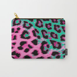 Hot Pink and Aqua Leopard Spots Carry-All Pouch