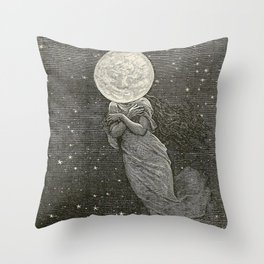 AROUND THE MOON - EMILE-ANTOINE BAYARD Throw Pillow