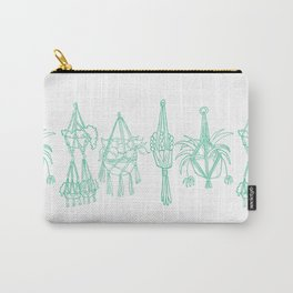 Macrame Plants - Mint on White Carry-All Pouch
