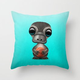 Cute Baby Platypus Playing With Basketball Throw Pillow