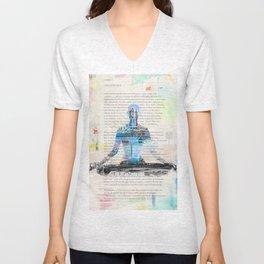 Yoga Book. Lesson 1 Concentration - painting - art print  Unisex V-Neck