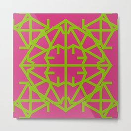 Diamond Bug Greenery - Pink Yarrow Metal Print