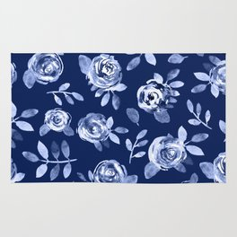 Hand painted navy blue white watercolor floral roses pattern Rug