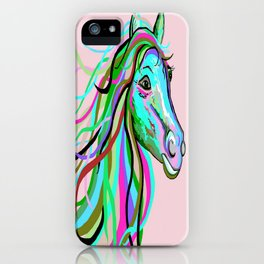 Teal and Pink Horse iPhone Case