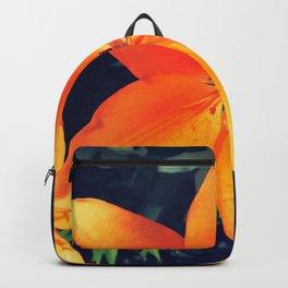 Bright Orange Single Lily Flower Floral Backpack