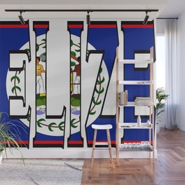 Belize Font with Belizean Flag Wall Mural