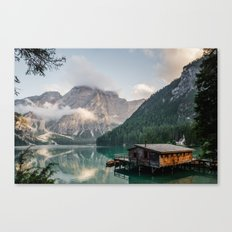 Mountain Lake Cabin Retreat Canvas Print