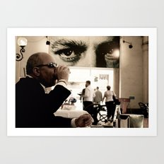 Man drinking coffee Art Print