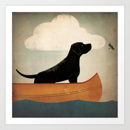 Black Lab Labrador Retriever Dog Canoe Ride Art Print
