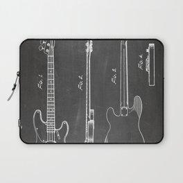 Bass Guitar Patent - Bass Guitarist Art - Black Chalkboard Laptop Sleeve