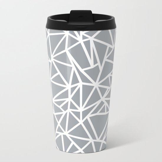 Abstract Outline Thick White on Grey Metal Travel Mug
