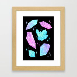 Pastel Watercolor Crystals // Black Framed Art Print
