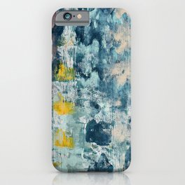 017: a bright contemporary abstract design in blues pinks and yellow by Alyssa Hamilton Art  iPhone Case