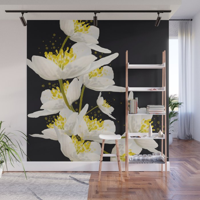 White Flowers On A Black Background #decor #society6 #buyart Wall Mural