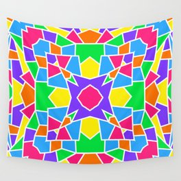 Rainbow Mosaic Symmetrical Swirls Kaleidoscope 2 Wall Tapestry