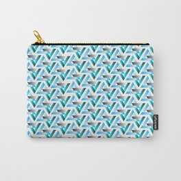 triangles  light blue and green Carry-All Pouch