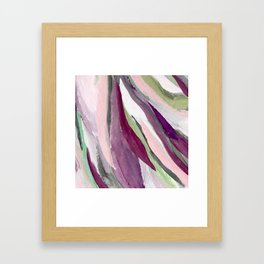 Blossom [3]: a pretty acrylic piece in greens, pinks, white, and purple. Simple minimal elegant Framed Art Print