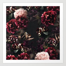 Vintage bouquets of garden flowers. Roses, dark red and pink peony.  Art Print