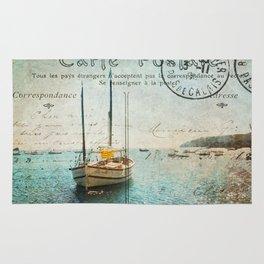 Vintage Sailing Days Postcard Rug