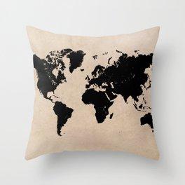 world map 94 black #worldmap #map #world Throw Pillow