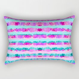 Painted Purple Party Stripes - with pink, teal, mint & aqua Rectangular Pillow
