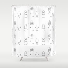Minimalist Xmas Pattern Shower Curtain