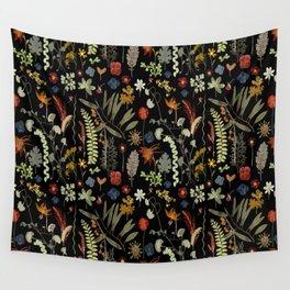 Dark Floral Sketchbook Wall Tapestry