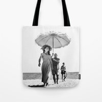 pablo picasso Tote Bags featuring PABLO PICASSO AT BEACH by VAGABOND