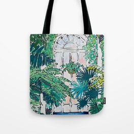 Kew Gardens Sunrise Walkway Greenhouse Jungle Painting London Tote Bag