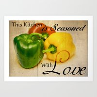 sayings Art Prints featuring Pepper Kitchen Sayings by Moonlake Designs