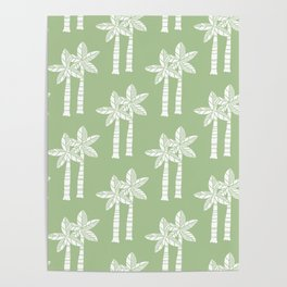 Palm Tree Pattern Nile Green Poster