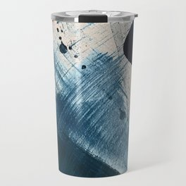 Against the Current [2]: A bold, minimal abstract acrylic piece in blue, white and gold Travel Mug