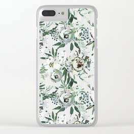 Green white blush pink watercolor geometrical floral Clear iPhone Case