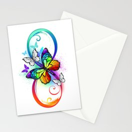 Bright infinity with rainbow butterfly Stationery Cards